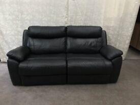 Alessia black leather 3 seater recliner sofa