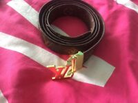 Ladies Louis Vuitton belt brown & gold LV belt accessories