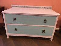 Vintage chest of drawers, lovely renovated piece with carved inset