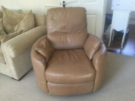 Leather armchair recliner
