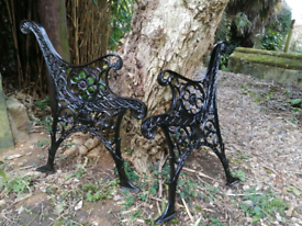 Pair Garden bench ends cast iron