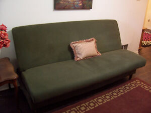 Green Futon/Sofa Bed in Great Condition CAN DELIVER