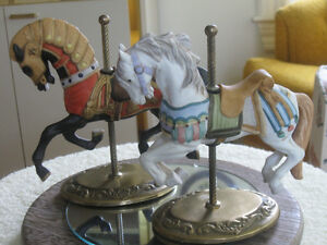 3 EXQUISITE VINTAGE ['60's] HORSE CAROUSELS on SOLID BRASS B
