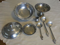 Pewter Serving Pieces, Bowl, Ladles and Dishes