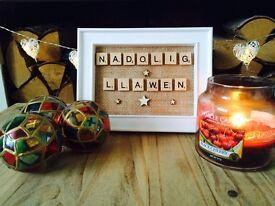 Welsh scrabble frames Christmas gift