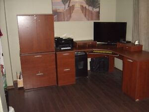 Large L-Shaped Office Desk with 2 Extra Cabinets