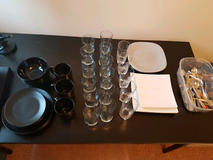 Sets of plates, glasses, mugs, cutlery!
