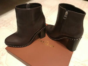Leather Brown Coach Block Heel Boots