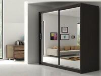%%BRAND NEW%% BERLIN 2 DOOR SLIDING WARDROBE WITH FULL MIRROR IN BLACK WHITE WALNUT OAK WENGE GREY