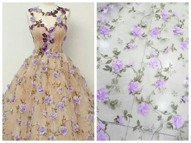 3D Butterfly Embroidery Tulle Lace Fabric Scalloped Dress