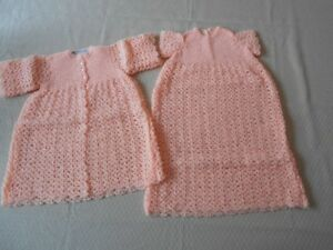 BRAND NEW HAND CROCHETED 2pc BABY JACKET & DRESS OUTFIT