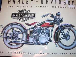 Full Colour Pressed-Plate of a 1933 74 Big Twin Harley  Vintage