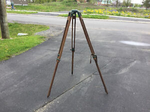 Antique Surveying tripod, wood and brass