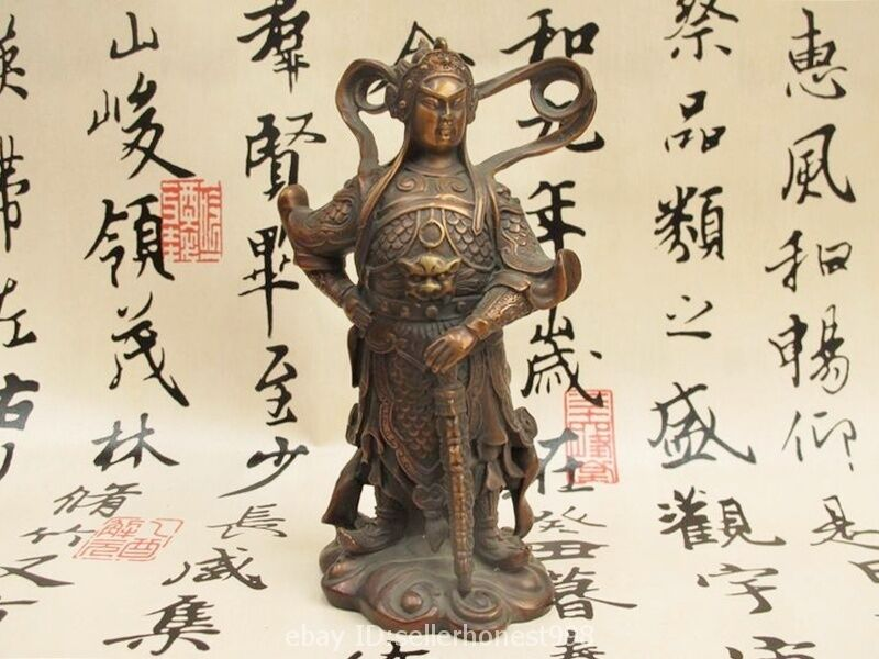 Chinese Buddhism Temple Pure Bronze WeiTuo Warrior Door God Wei tuo Statue