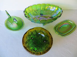 Green Carnival Glass ...dishes and bowls