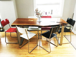 Modern recycled dining chairs.