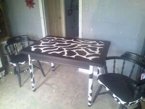 Cow print table and 2 chairs $100 obo