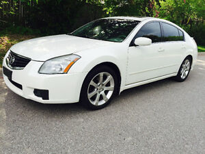 2008 NISSAN MAXIMA SE, WHITE ON GREY LEATHER INTERIOR,ROOF