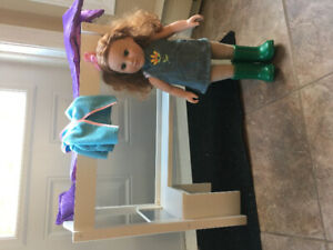 Doll with journey girl loft bed and bean bag chair