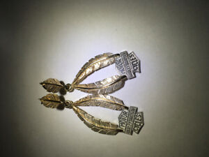 Gold/Silver Harley Davidson Earrings
