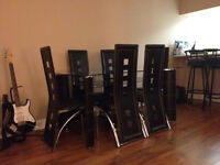 Modern 2-Level Glass Dining Table - 6 Leather Chairs