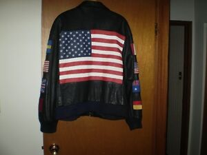 XL LEATHER JACKET / American Flag on Back and 8 Flags on Sleeves