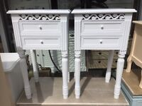 Shabby Chic Ornate Bedside Tables