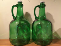 Antique glass cider jugs