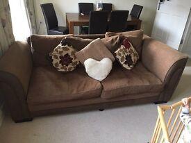 2 x Three Seater Brown Sofa
