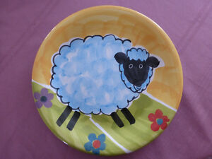 Folk Art Collectors Plate with Sheep Design