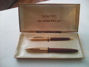 VINTAGE SHEAFFER SNORKEL WHITE DOT FOUNTAIN PEN 14K gold nib pen