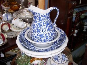 Antique Arden Burleigh Blue Chintz ware Water Pitcher and Basin