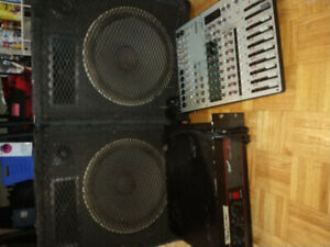 PA system with Yamaha switchboard and Traynor beta 800 power amp