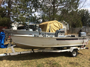14ft Aluminum Boat, motor and trailer
