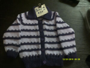 Hand knit childrens sweaters - size 2 & 4