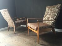 Retro pair mid century teak armchairs. Parker Knoll.Delivery.
