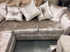 Brand new champagne crushed velvet corner sofa