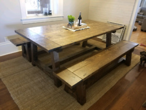 Truss farmhouse harvest table