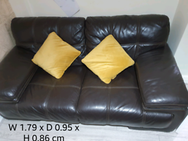Brown Leather Suite - 2 Seater and Chair