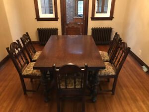 Antique Dining Room Table with 6 Chairs