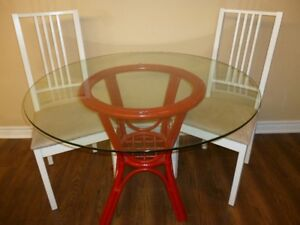 Round Glass Top Bamboo Table with 3 Chairs