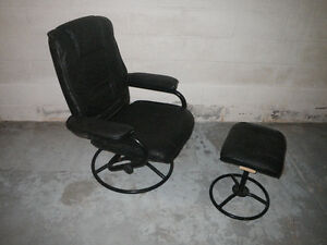 Black Chair with Footstool