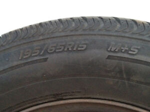 2 Used Hercules Ultra Tour LE Mud & Snow Tires on Rims 195/65R15 Kitchener / Waterloo Kitchener Area image 2