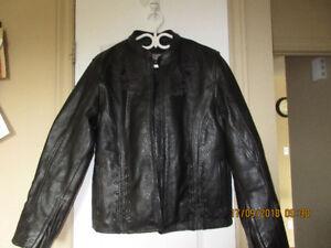 Pour Femme manteau de cuir et gant de cuir