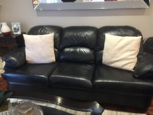 Black Genuine Soft Leather Couch Set