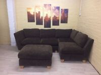 Chocolate Brown Fabric Corner Sofa