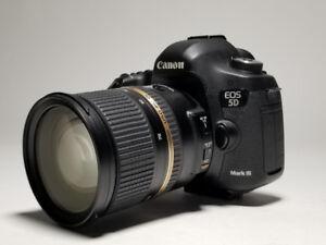 Canon 5D MKIII+ Tamron 24-70 2.8+ 3 batteries + 112Gb mem cards