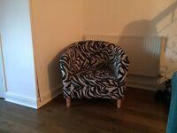Zebra pattern club chair in good condition
