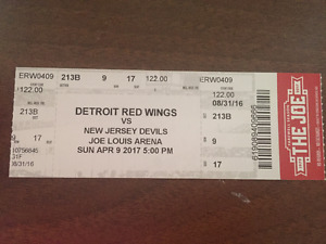 Pristine Ticket Stub from Final Wings Game at Joe Louis Arena