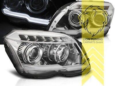 LED Tagfahrlicht Optik Scheinwerfer für Mercedes Benz GLK-Klasse X204 chrom